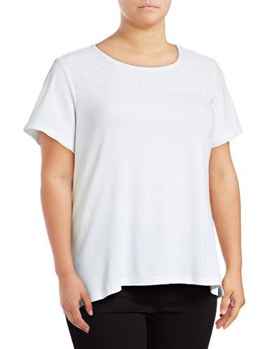 Karen Scott Plus Sequined Lace Yoke Scoop Neck Top-WHITE-1X