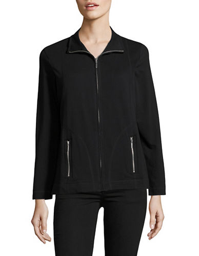 Karen Scott Petite French Terry Zip-Front Jacket-BLACK-Petite Medium 88902259_BLACK_Petite Medium