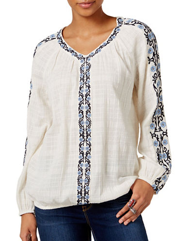 Style And Co. Petite Love Yourself Embroidered Peasant Top-ASSORTED-Petite X-Small