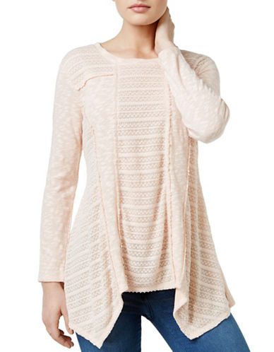 Style And Co. Patterned Mixed-Media Top-PINK-Medium 88930549_PINK_Medium