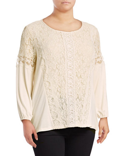 Style And Co. Plus Mixed Lace Scoop Neck Top-WHITE-1X
