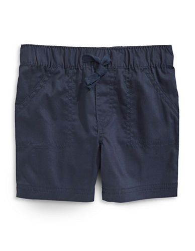 First Impressions Woven Solid Shorts-NAVY-6-9 Months