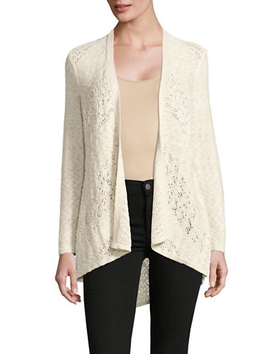 Style And Co. Petite Pointelle Open-Front Cardigan-NATURAL-Petite X-Small
