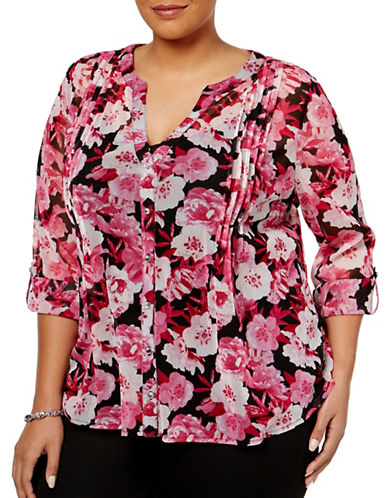 I.N.C International Concepts Plus Pintuck Floral-Printed Blouse-RED-1X
