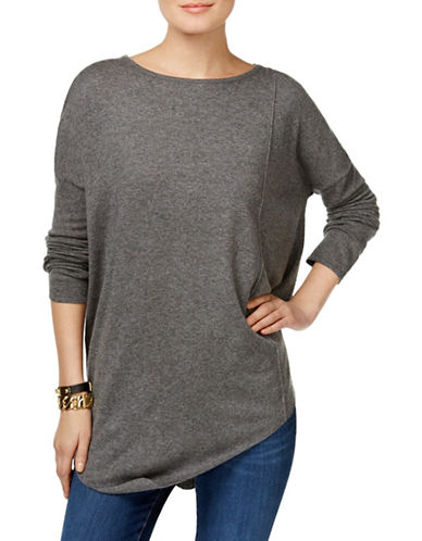 I.N.C International Concepts Asymmetrical Tunic Sweater-GREY-Large 88880407_GREY_Large