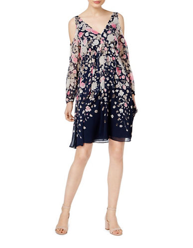 I.N.C International Concepts Petite Cold Shoulder Floral Dress-BLUE-Petite 14