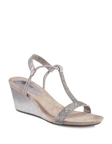 Style And Co. Mulan Wedge Sandals-GUNMETAL-7.5