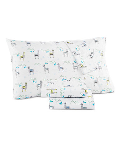 Martha Stewart Whim Llama Drama 200 Thread Count Four-Piece Sheet Set-TURQUOISE-Double