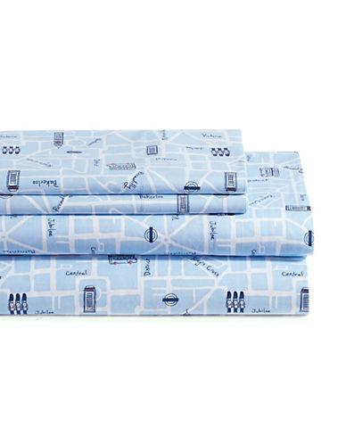 Martha Stewart Whim London Landmark 200 Thread Count Four-Piece Sheet Set-LIGHT BLUE-Double