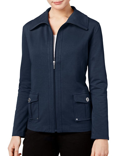 Karen Scott Zip-Up Jacket-BLUE-X-Large 88979230_BLUE_X-Large