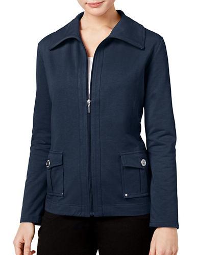 Karen Scott Petite Zip-Up Jacket-BLUE-Petite X-Small 88977583_BLUE_Petite X-Small