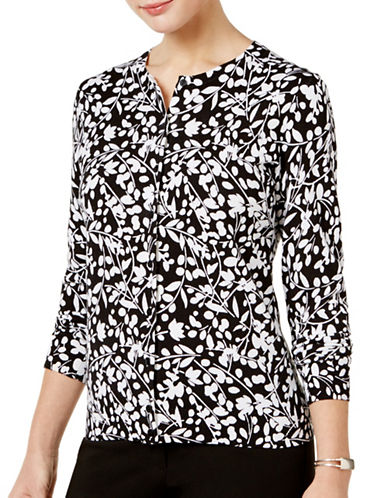 Karen Scott Floral Printed Cardigan-BLACK-Medium