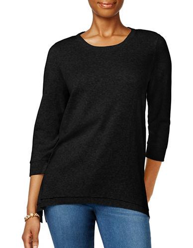 Style And Co. Rib Trim Three-Quarter Sleeve Sweatshirt-BLACK-Small 88953594_BLACK_Small