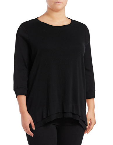 Style And Co. Plus Layered Hem Sharkbite Sweater-BLACK-2X 88978840_BLACK_2X