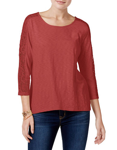 Style And Co. Lace Trimmed Top-PINK-Medium 88930565_PINK_Medium