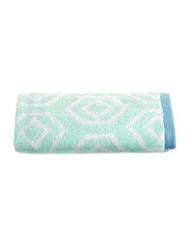 Martha Stewart Spa Geo Cotton Hand Towel-SEA SPRAY-Hand Towel