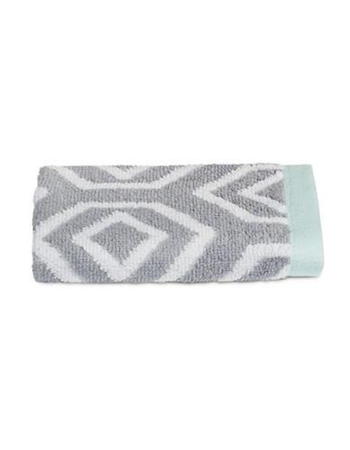 Martha Stewart Spa Geo Cotton Washcloth-MOURNING DOVE-Washcloth