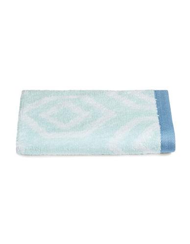 Martha Stewart Spa Geo Cotton Washcloth-SEA SPRAY-Washcloth