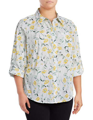 Karen Scott Plus Printed Cotton Tab-Sleeve Shirt-YELLOW MULTI-2X