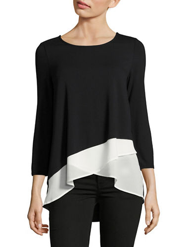 I.N.C International Concepts Three-Quarter Sleeve Boat Neck Woven Two-fer Top-BLACK-Large 88936865_BLACK_Large
