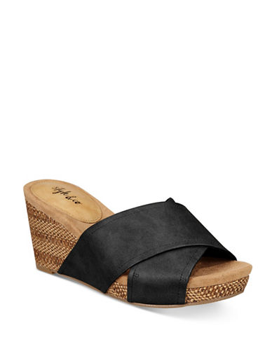Style And Co. Jill Slide Wedges-BLACK-6