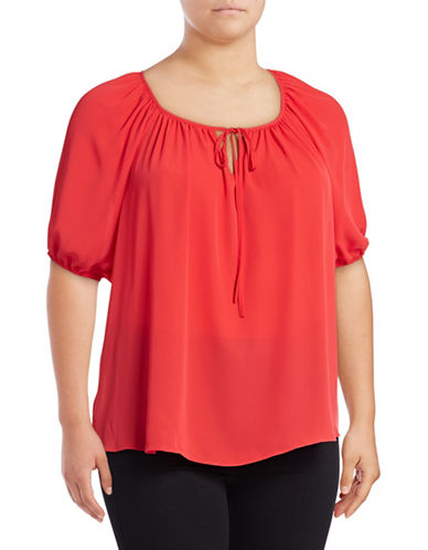 I.N.C International Concepts Plus Tie Front Crepe Peasant Top-CORAL-3X