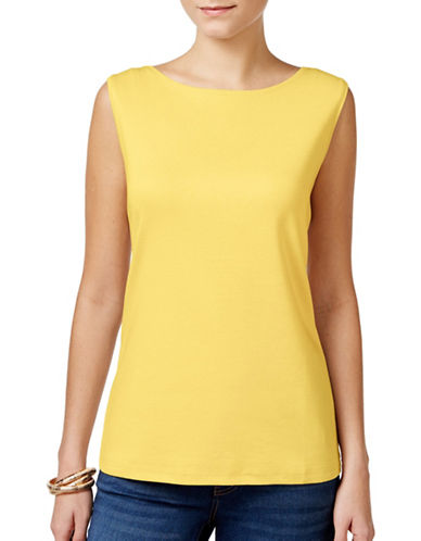 Karen Scott Boat Neck Tank Top-YELLOW-X-Large 89027898_YELLOW_X-Large
