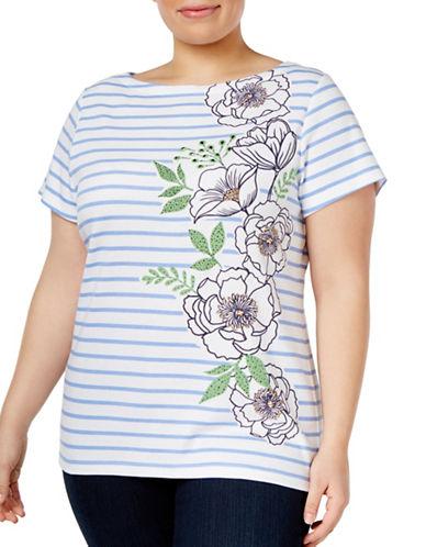 Karen Scott Plus Striped Embellished T-Shirt-WHITE-1X