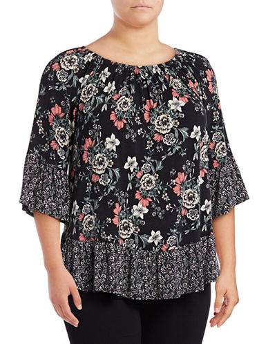 Style And Co. Plus Floral Flounce Hem Top-MULTI-2X