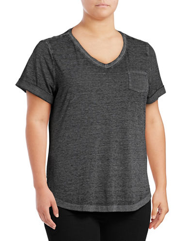Style And Co. Plus Burnout V-Neck Pocket T-Shirt-BLACK-1X