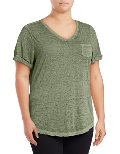 Style And Co. Plus Burnout V-Neck Pocket T-Shirt-GREEN-2X