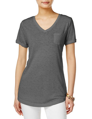 Style And Co. V-Neck Burnout Pocket Tee-BLACK-Medium