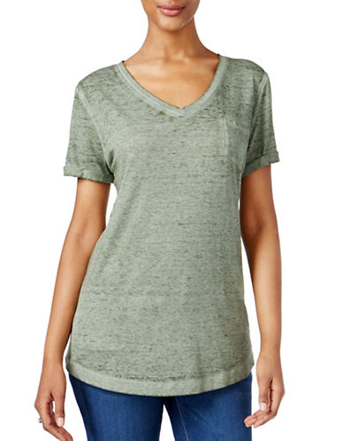Style And Co. V-Neck Burnout Pocket Tee-GREEN-Medium 88945821_GREEN_Medium
