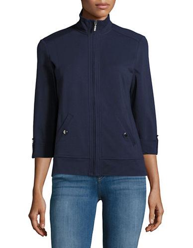 Karen Scott Petite Mock Neck Zip Sweater-BLUE-Petite X-Small 89028098_BLUE_Petite X-Small