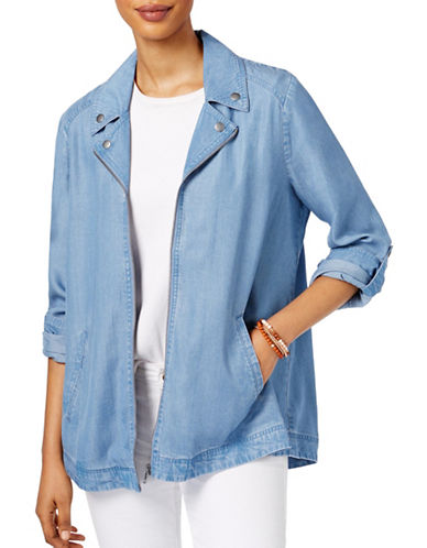 Style And Co. Chambray Swing Jacket-BLUE-Small 88987848_BLUE_Small