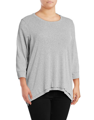 Style And Co. Plus Layered Hem Sharkbite Sweater-GREY-1X 89035709_GREY_1X