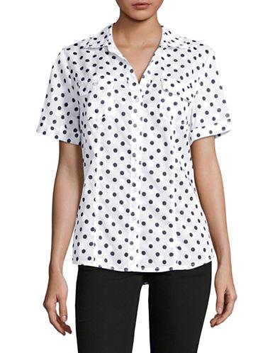 Karen Scott Graphic Dot Shirt-BLUE-Medium