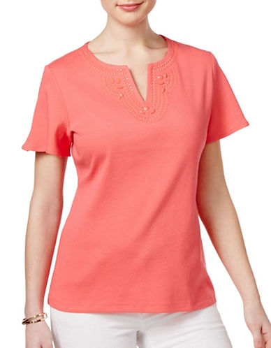 Karen Scott Cotton Split Neck Embellished Top-PINK-Medium