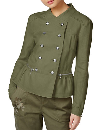 I.N.C International Concepts Linen Peplum Military Jacket-GREEN-X-Small 89022414_GREEN_X-Small