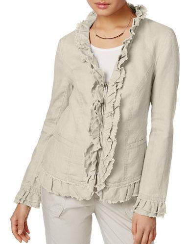 I.N.C International Concepts Ruffled Linen Jacket-WHITE-X-Large 89022421_WHITE_X-Large