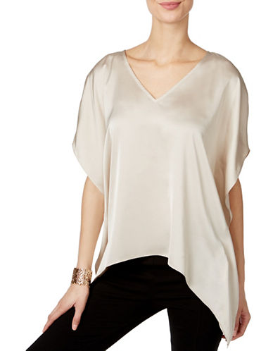 I.N.C International Concepts Handkerchief-Hem V-Neck Top-BEIGE-Medium