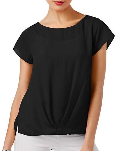 I.N.C International Concepts Twist-Front Tee-BLACK-X-Small 89016410_BLACK_X-Small