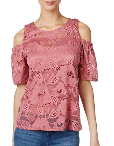 I.N.C International Concepts Cold Shoulder Lace Top-PINK-Medium 89016439_PINK_Medium