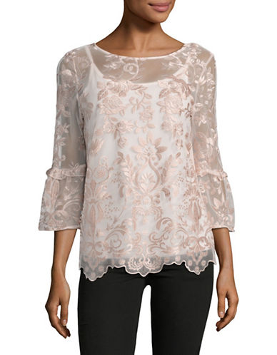 I.N.C International Concepts Long Bell Sleeve Rose Embroidered Top-PINK-Large 89016445_PINK_Large