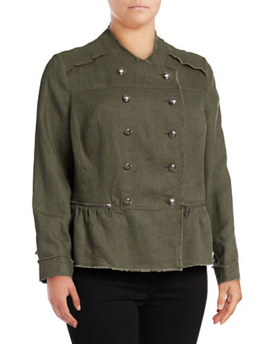 I.N.C International Concepts Plus Linen Peplum Military Jacket-OLIVE-1X