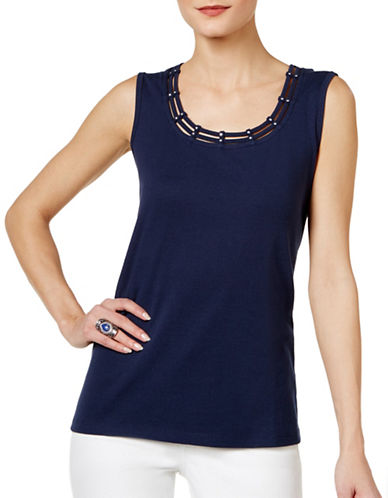 Karen Scott Studded Tank Top-BLUE-Medium 89081591_BLUE_Medium