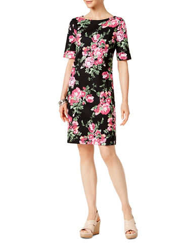 Karen Scott Floral-Print Sheath Dress-BLACK-Small
