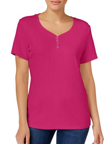 Karen Scott Petite Cotton Henley T-Shirt-PINK-Petite Large