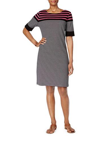Karen Scott Petite Cotton Striped Shift Dress-BLACK MULTI-Petite X-Small