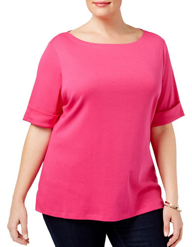 Karen Scott Plus Cuffed T-Shirt-PINK-2X